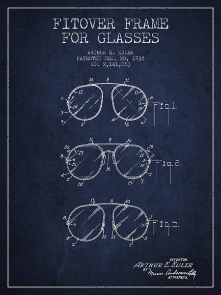 Wall Art - Digital Art - Frame For Glasses Patent From 1938 - Navy Blue by Aged Pixel