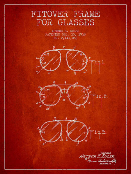Wall Art - Digital Art - Frame For Glasses Patent From 1938 - Red by Aged Pixel