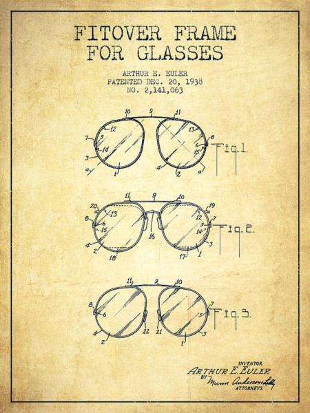 Wall Art - Digital Art - Frame For Glasses Patent From 1938 - Vintage by Aged Pixel