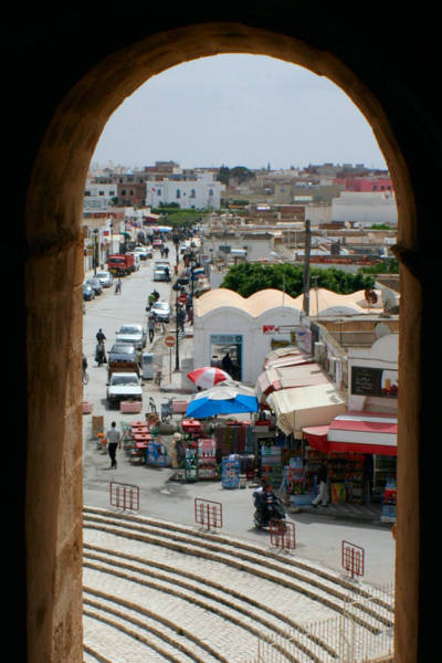 El Jem Photograph - Framed Market by Jon Emery