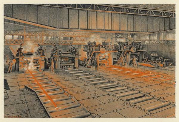Steel Drawing - France  Longwy Steelworks The Rolling by Mary Evans Picture Library