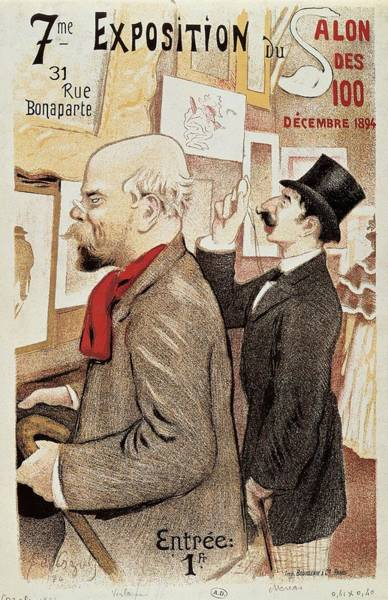 Scarf Drawing - France Paris Poster Of Paul Verlaine And Jean Moreas by Anonymous