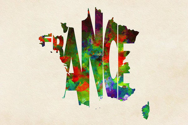 Wall Art - Painting - France Typographic Watercolor Map by Inspirowl Design