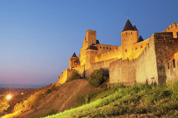 Fortified Wall Art - Photograph - France, View Of Carcassonne by Westend61