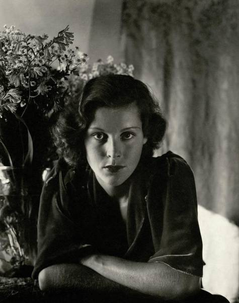 Photograph - Frances Dee With Flowers by Imogen Cunningham