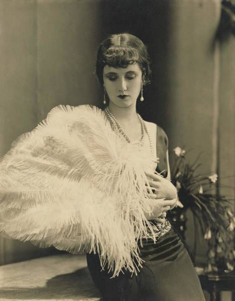 Down Feather Photograph - Frances Howard Holding An Ostrich Feather Fan by Edward Steichen