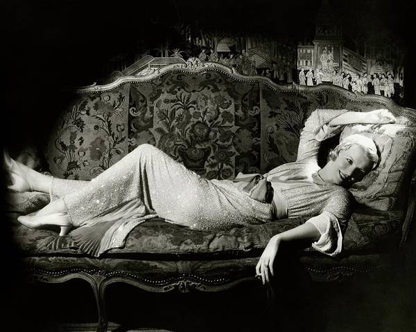 Furniture Photograph - Frances Willams Lying On A Couch by Cecil Beaton