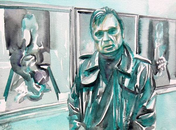 Francis Bacon Wall Art - Painting - Francis Bacon Watercolor Portrait.3 by Fabrizio Cassetta