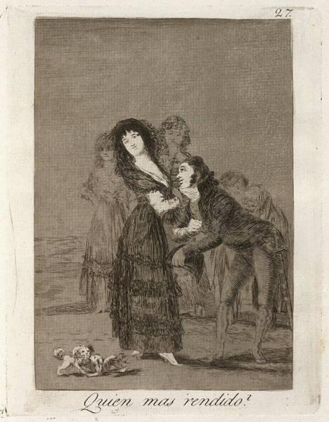 Wall Art - Drawing - Francisco De Goya, Quien Mas Rendido  Which by Quint Lox