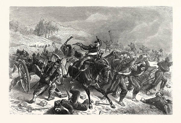 Brigade Drawing - Franco-prussian War French Mitrailleusenbatterien Fled by French School