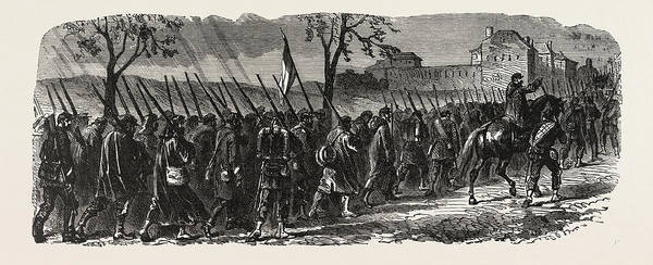 Brigade Drawing - Franco-prussian War The French 66th Regiment On The March by French School