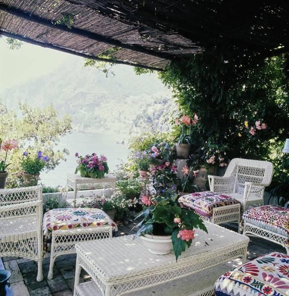 Wicker Chair Photograph - Franco Zeffirelli's Veranda by Horst P. Horst