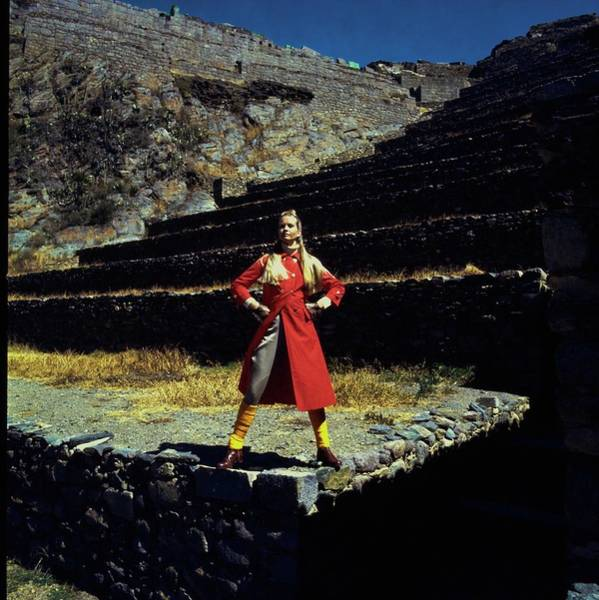 Wall Art - Photograph - Francoise Rubartelli Wearing A Red Coat by John Cowan