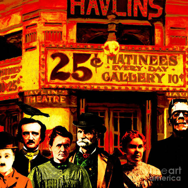 Photograph - Frank And Friends Goes To The Vintage Havlins Theatre 25 Cents Matinees Everyday 20140812 Square by Wingsdomain Art and Photography
