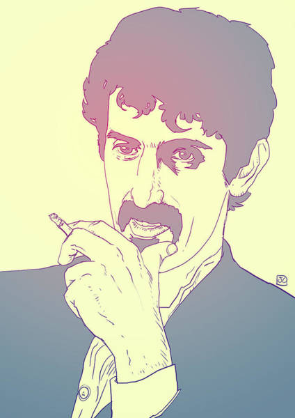 Rock Music Drawing - Frank Zappa by Giuseppe Cristiano