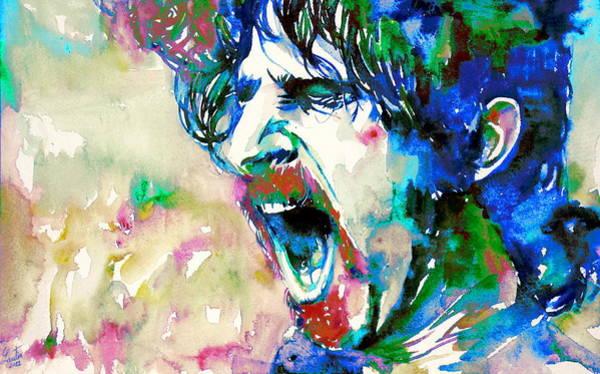 Frank Zappa Wall Art - Painting - Frank Zappa  Portrait.4 by Fabrizio Cassetta
