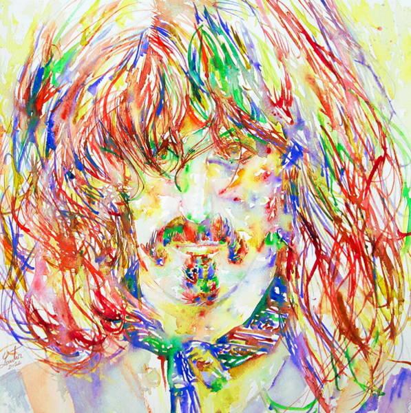 Frank Zappa Wall Art - Painting - Frank Zappa Watercolor Portrait.1 by Fabrizio Cassetta