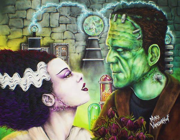 Frankenstein Painting - Frankenstein And The Bride by Mike Vanderhoof