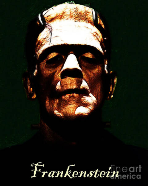 Frankenstein Monster Photograph - Frankenstein - Dark - With Text by Wingsdomain Art and Photography