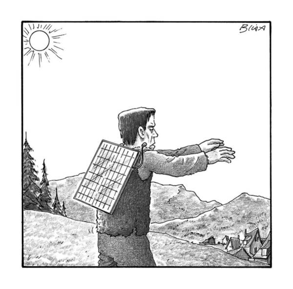 Energy Drawing - Frankenstein's Monster Walks With A Solar Panel by Harry Bliss