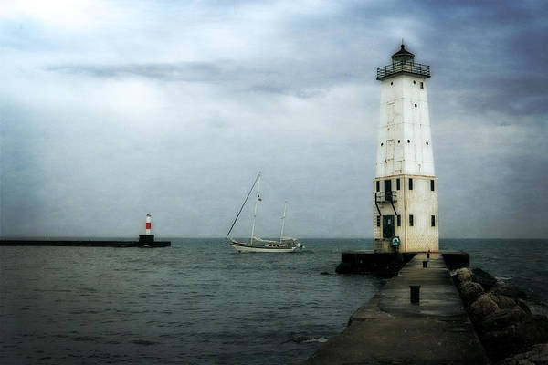 Photograph - Frankfort Lighthouse With Sailboat by Michelle Calkins