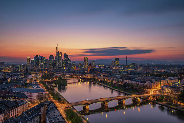 Wall Art - Photograph - Frankfurt Skyline At Sunset by Robin Oelschlegel