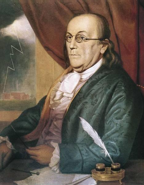 1741 Photograph - Franklin, Benjamin 1709-1790. Oil by Everett
