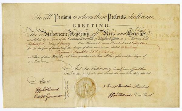 Membership Photograph - Franklin Membership Certificate by American Philosophical Society
