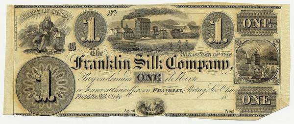 Us Bank Photograph - Franklin Silk Company Bank Note by American Philosophical Society
