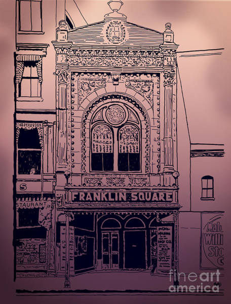 Drawing - Franklin Square Theatre by Megan Dirsa-DuBois
