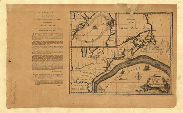 Current Photograph - Franklin's Map Of The Gulf Stream by Library Of Congress, Geography And Map Division/science Photo Library