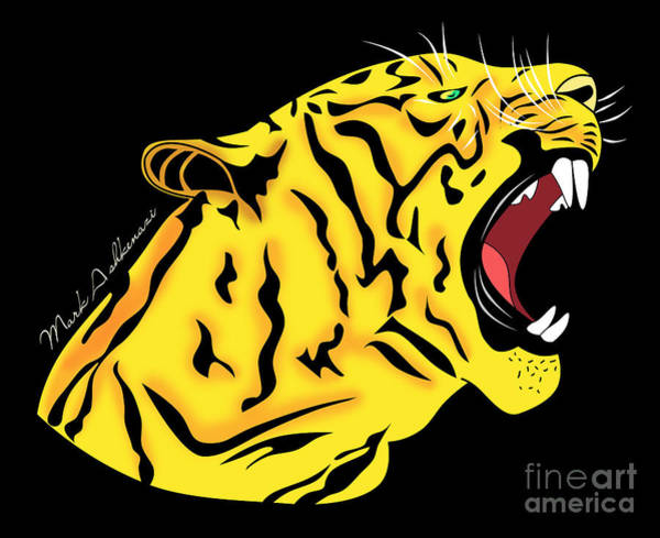 Staring Digital Art - Freak Tiger  by Mark Ashkenazi