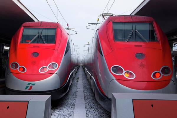 Wall Art - Photograph - Frecciarossa Trains In Naples. by Mark Williamson/science Photo Library
