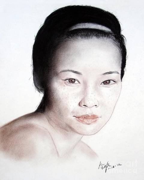 Freckle Drawing - Freckle Faced Asian Beauty by Jim Fitzpatrick