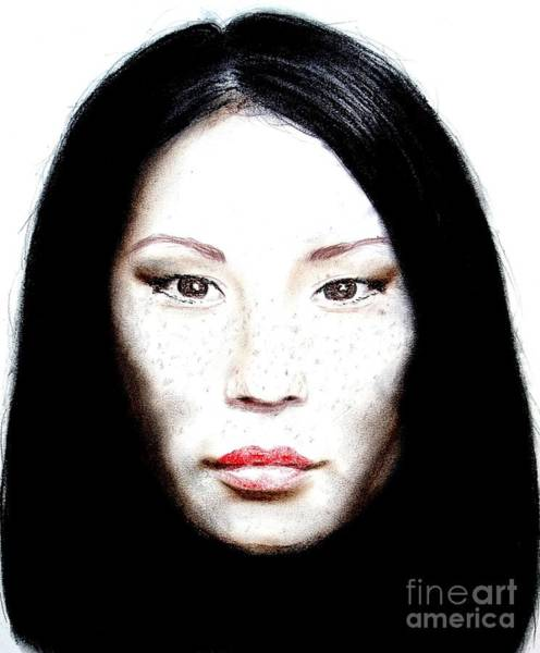 Freckle Drawing - Freckle Faced Beauty Lucy Liu  II by Jim Fitzpatrick