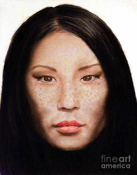 Freckle Drawing - Freckle Faced Beauty Lucy Liu  IIi by Jim Fitzpatrick