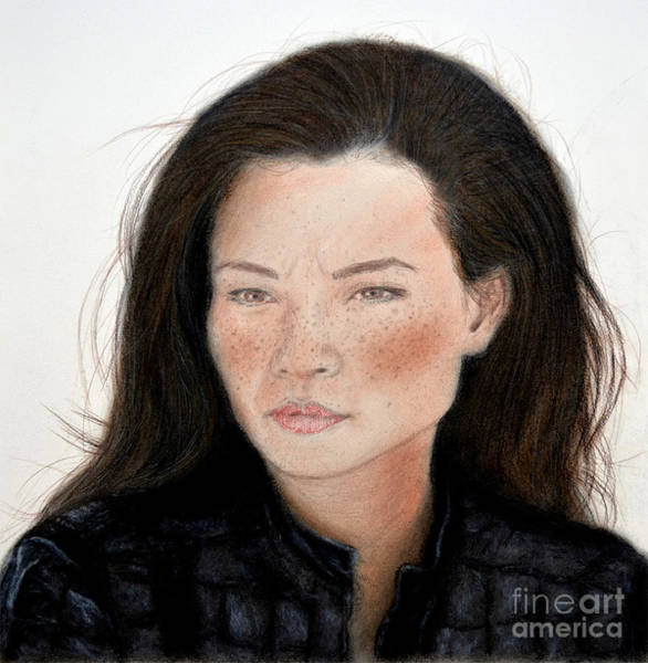 Freckle Drawing - Freckle Faced Beauty Lucy Liu Remake by Jim Fitzpatrick