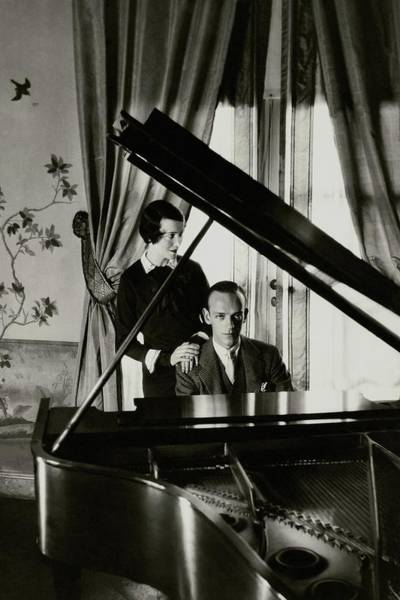 Window Photograph - Fred And Adele Astaire At A Piano by Cecil Beaton