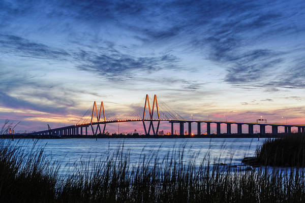 Cable-stayed Bridge Photograph - Fred Hartman Bridge At Twilight Hour by Silvio Ligutti