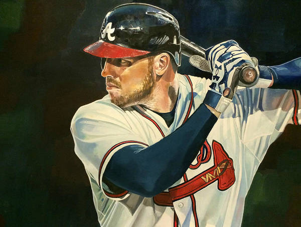 Freeman Wall Art - Painting - Freddie Freeman by Michael Pattison