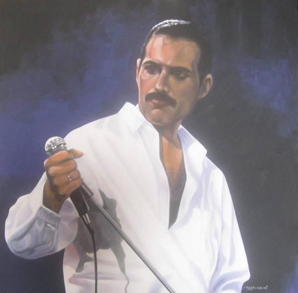 Frontman Wall Art - Painting - Freddie Mercury by Bruce McLachlan