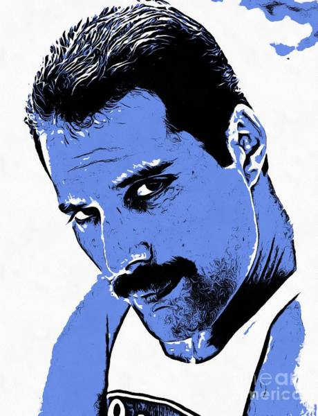 Glam Rock Drawing - Freddie Mercury Collection - 1 by Sergey Lukashin