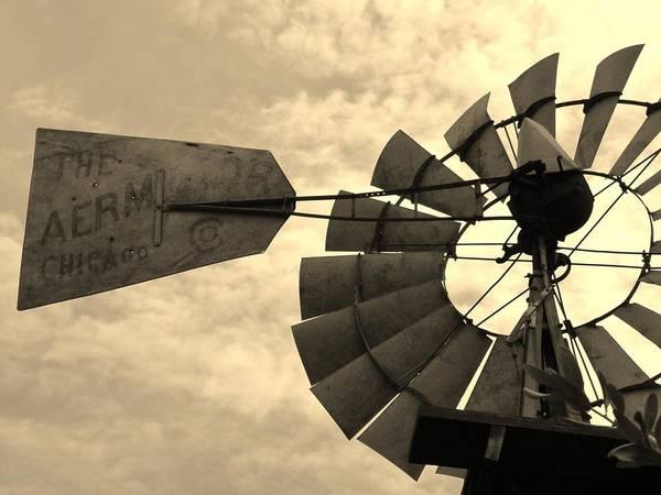 Sullivan County Photograph - Fredericksburg Herb Farm Aermotor Windmill Sepia by Elizabeth Sullivan