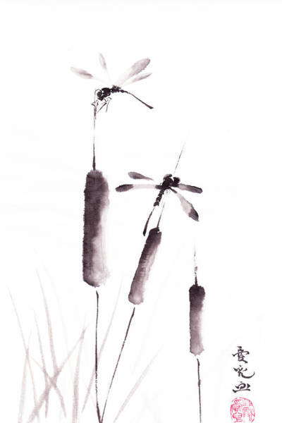 Chinese Brush Painting - Free As The Dragonflies by Oiyee At Oystudio