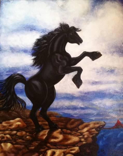 Volcanoe Painting - Free Black Beauty  by Annette Jimerson
