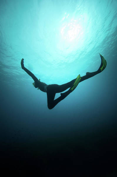 Bikini Photograph - Free Diver by William Rhamey - Azur Diving
