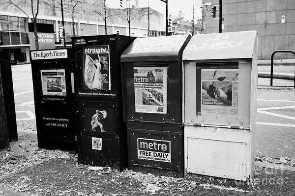 Metro Vancouver Wall Art - Photograph - free newspaper dispensers including metro georgia sraight 24 hours and epoch times Vancouver BC Cana by Joe Fox