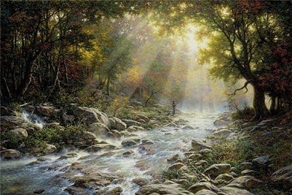 Digital Art - Free Print River Of Light by Larry Dyke