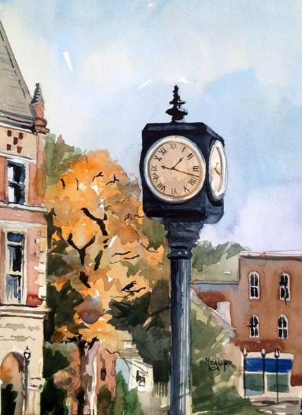 Courthouse Painting - Freedom Park Clock by Spencer Meagher