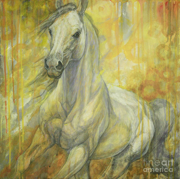 White Horse Painting - Freedom by Silvana Gabudean Dobre